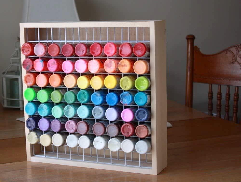 Wooden Craft Paint Storage Rack for 2 oz paint bottles