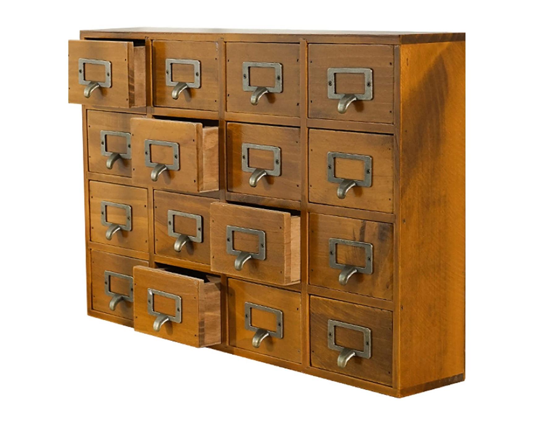 Supply Desk Drawer Organizer - Wooden Storage Box with 16 Drawers