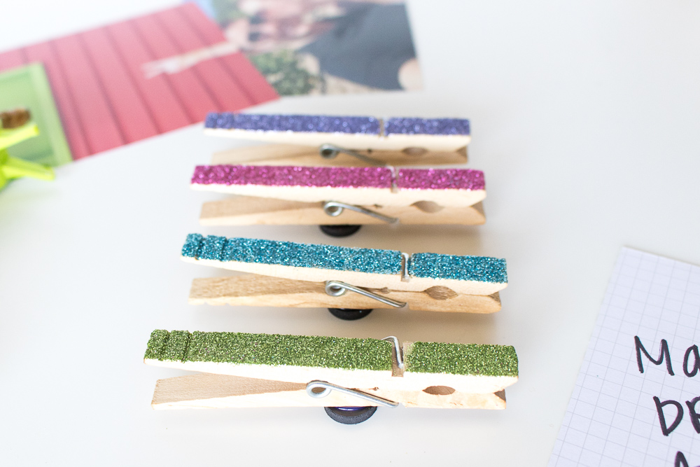 clothespin magnets with glitter