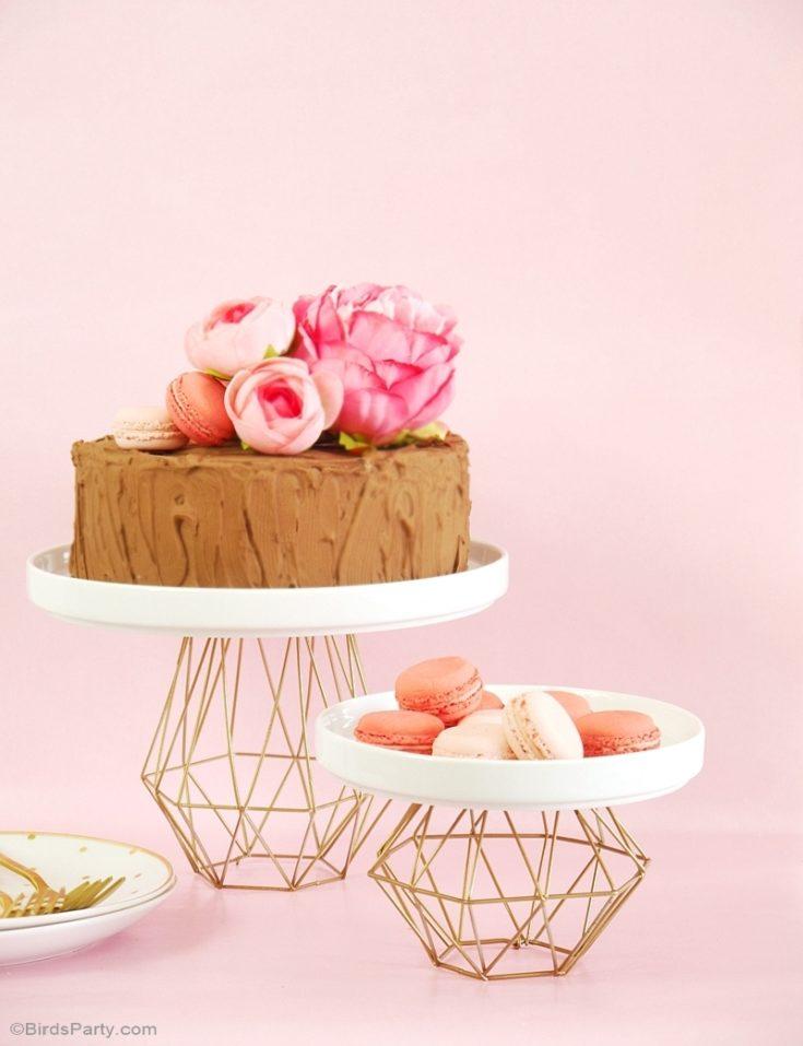 geometric metallic cake stand cupcake diy gold copper himmeli2