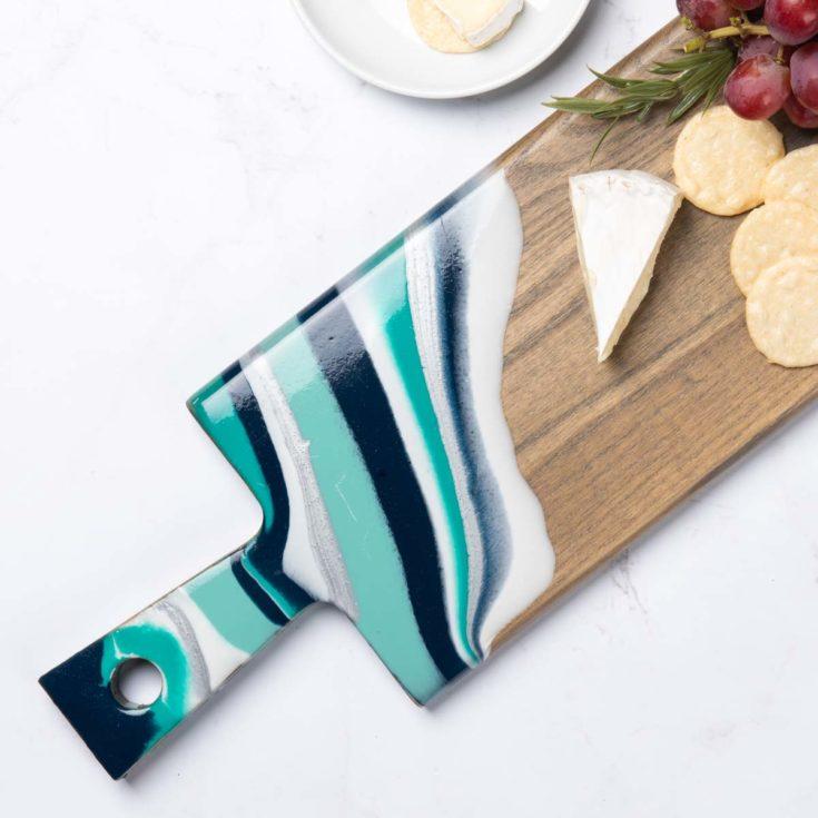 Blue and Aqua Resin Cutting Board