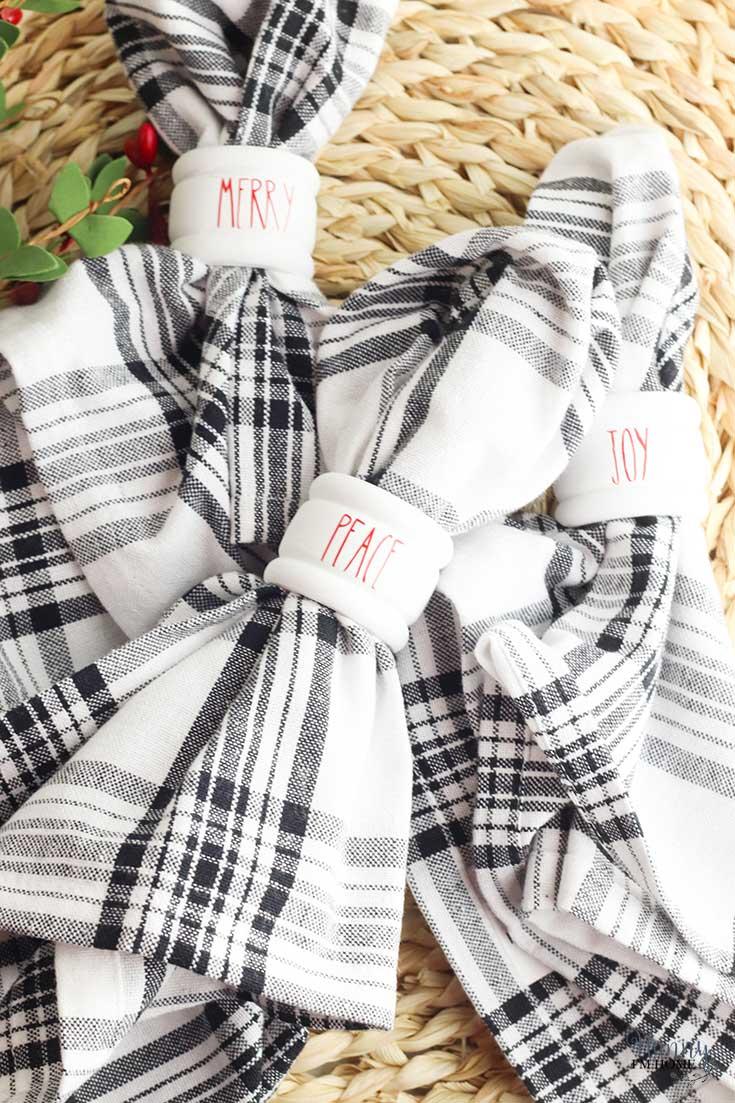 Christmas napkin rings Rae Dunn