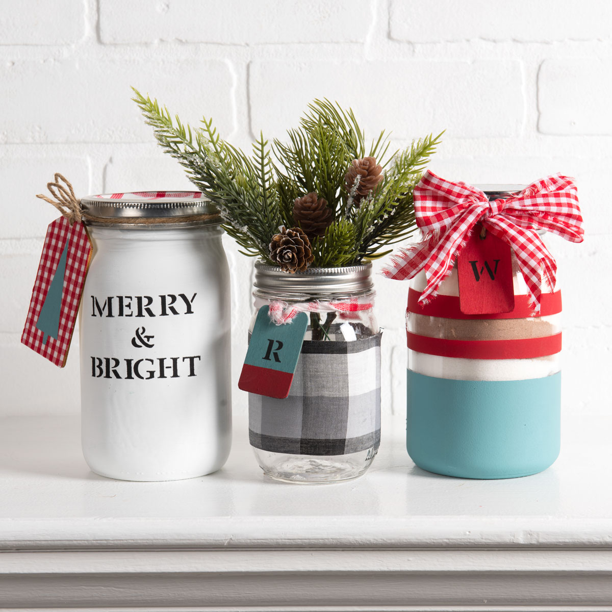 Frascos pintados para presente de Natal