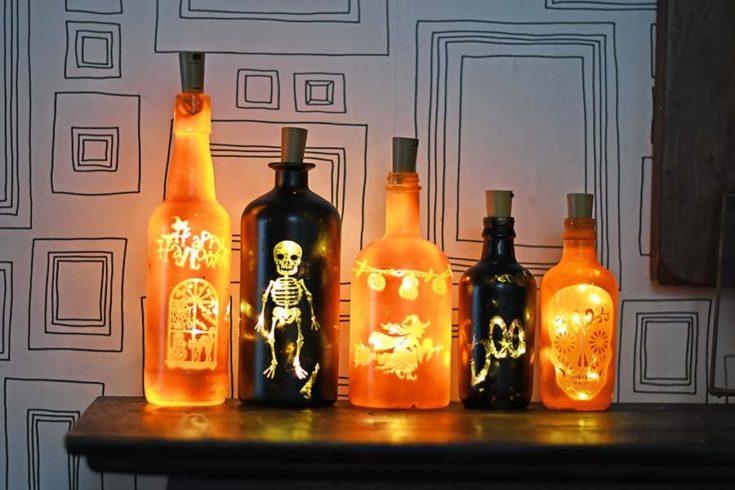 Array of DIY Halloween lights ft 5 s