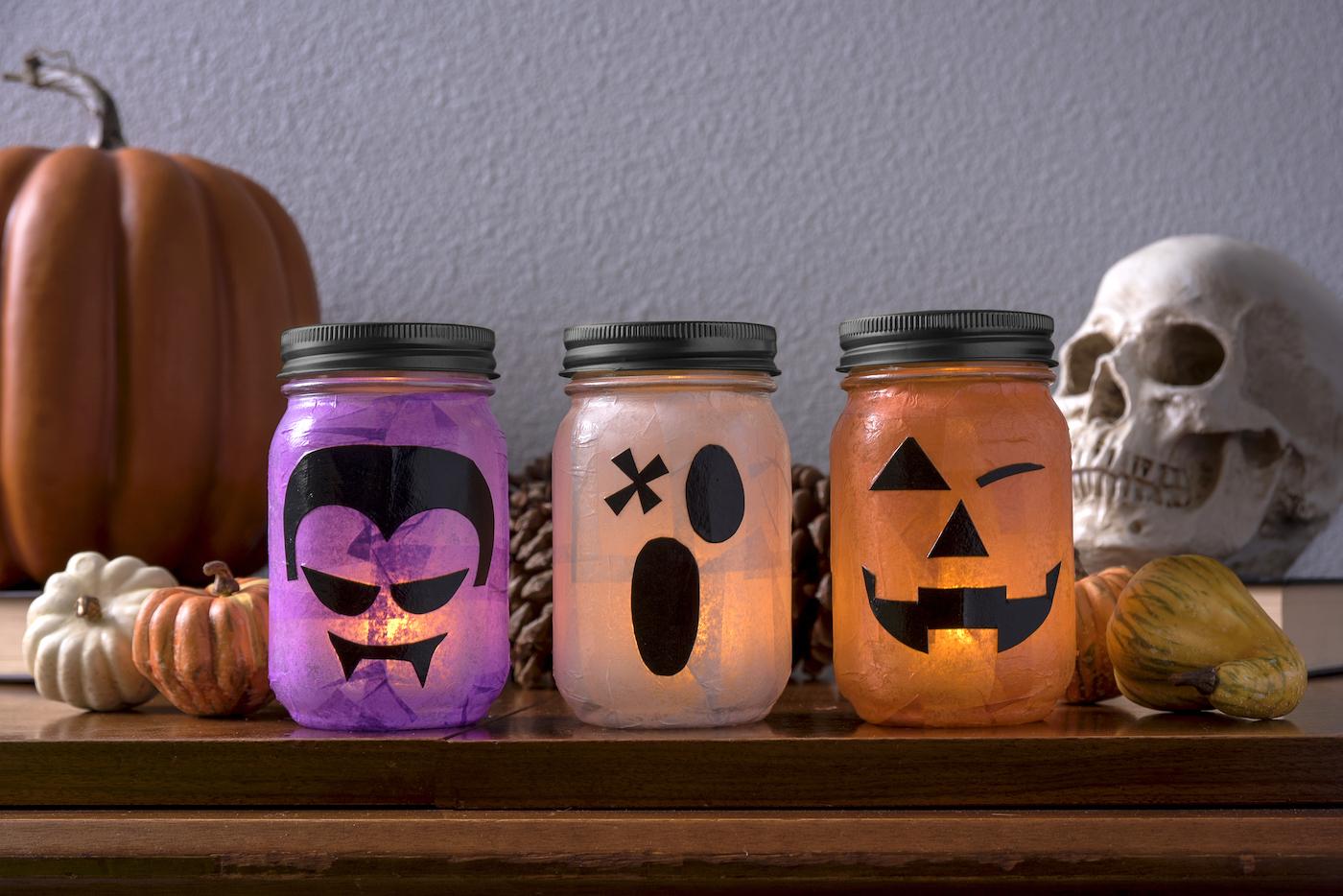 Lanternas de halloween faça você mesmo