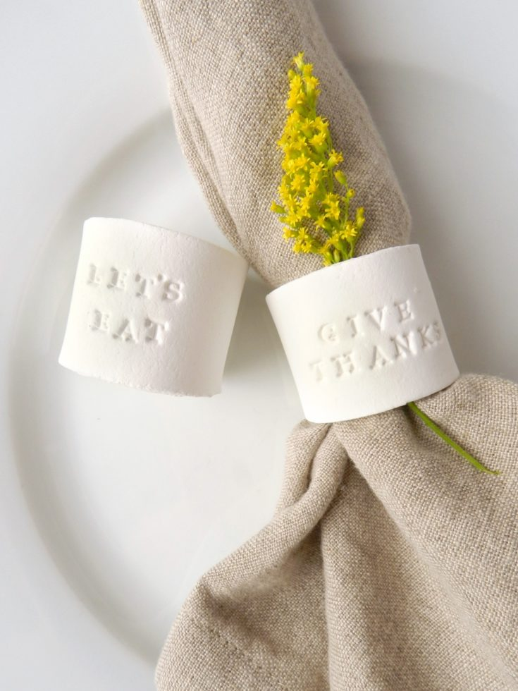 DIY Stamped Clay Napkin Rings