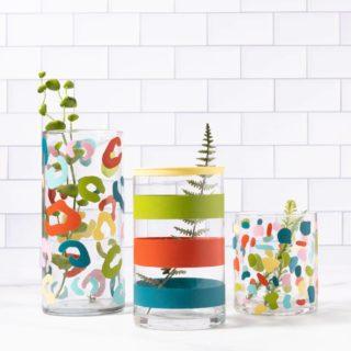 Glassware painetd with enamel paint