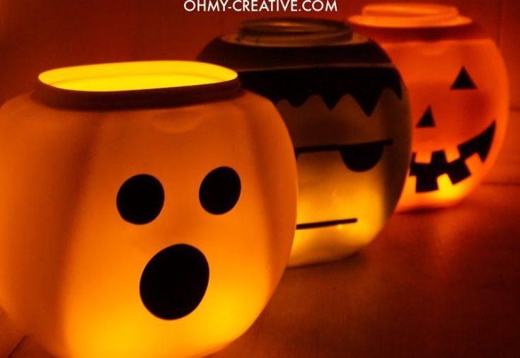 Halloween Lanterns From Laundry Pod Jars