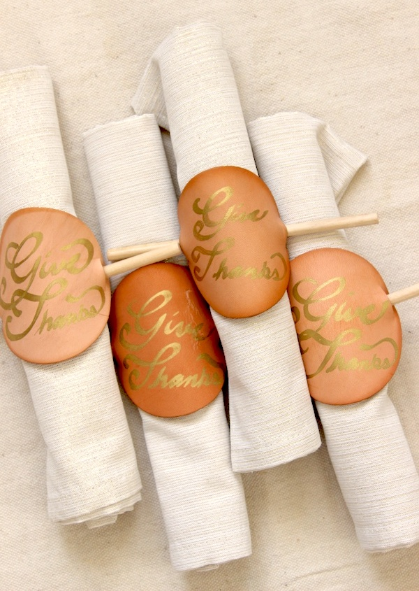 Leather Thanksgiving Napkin Rings