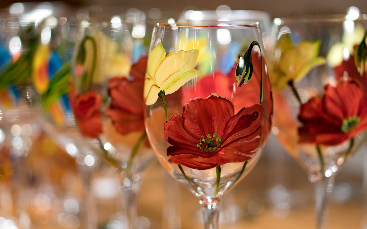 Pretty painted wine glasses