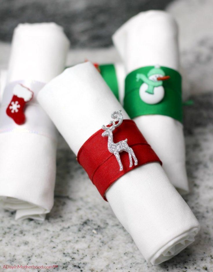 Ribbon and Charms Holiday Napkin Rings