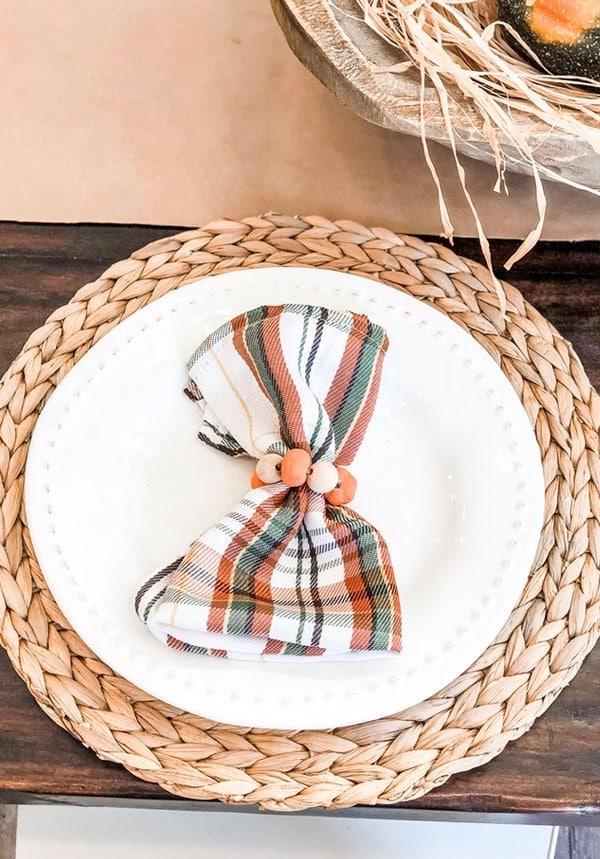 Wood Beaded Thanksgiving Napkin Rings