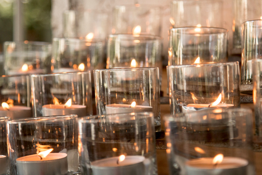 candles in glass candle holders