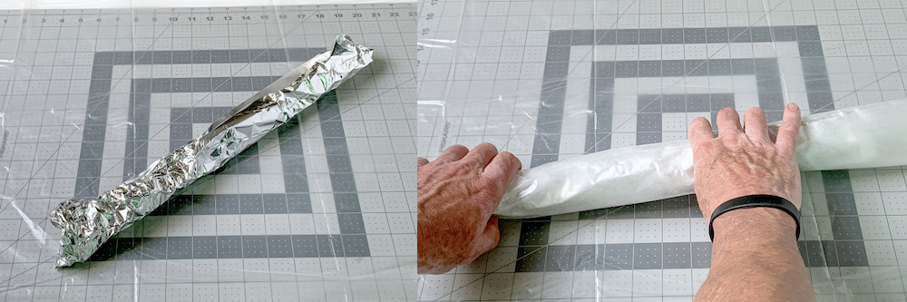Covering the aluminum foil roll with wax paper