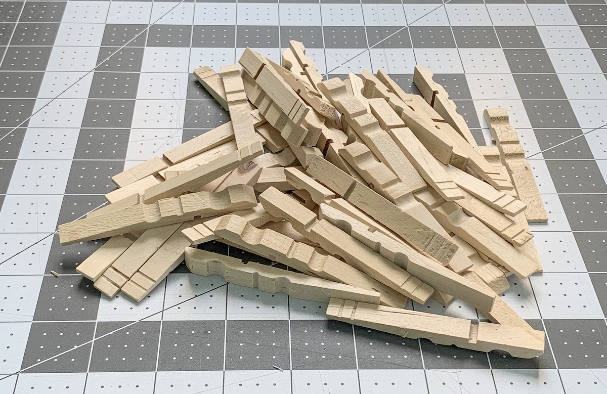 Pile of wooden clothespins