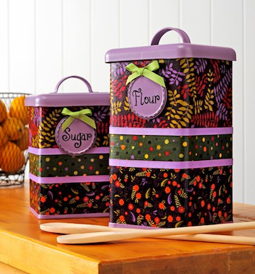 Refurbished Kitchen Canisters with Fabric and Mod Podge